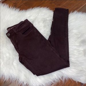 AEO Maroon Jeggings Size 4